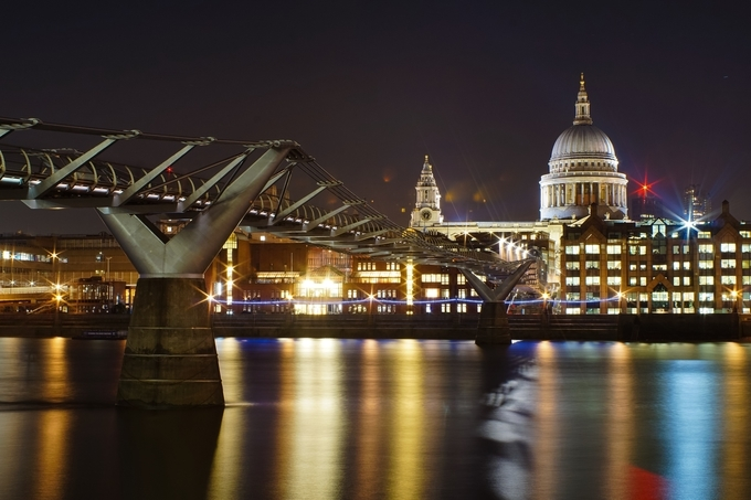 London's Millennium bridge on the river Thames with Saint Paul's Cathedral in the background  by marinopili - Bright City Lights Photo Contest