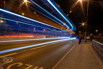 Double decker bus light trial turning