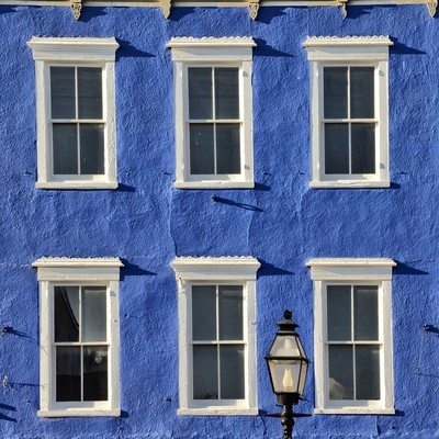 Six Windows on a Blue Wall