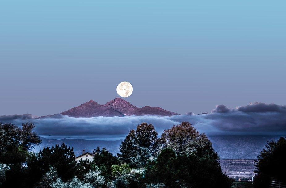 Moonset over Long's Peak