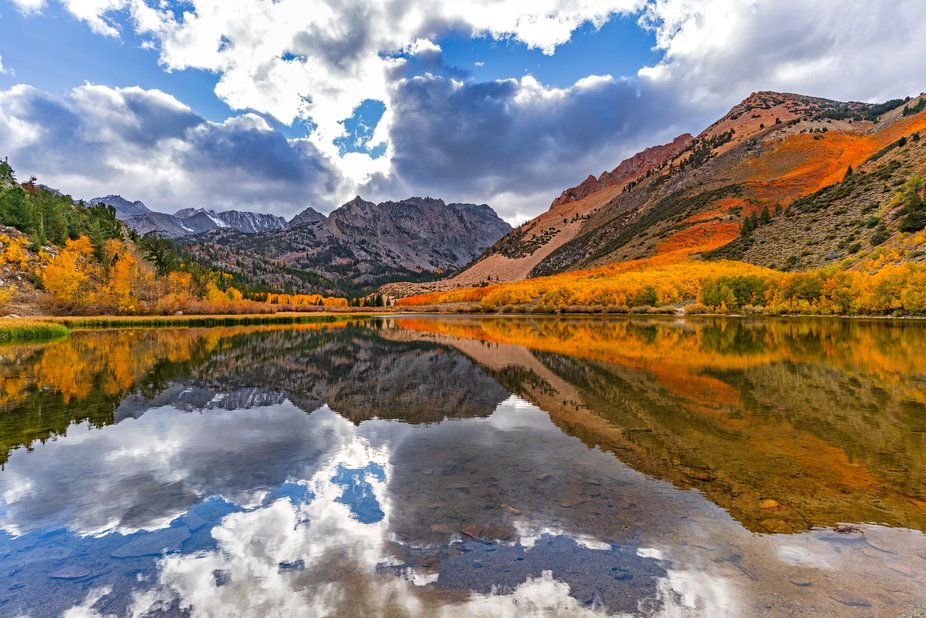 Fall colors are in full bloom at North lake in Bishop Creek Canyon high up in the Eastern Sierra ...