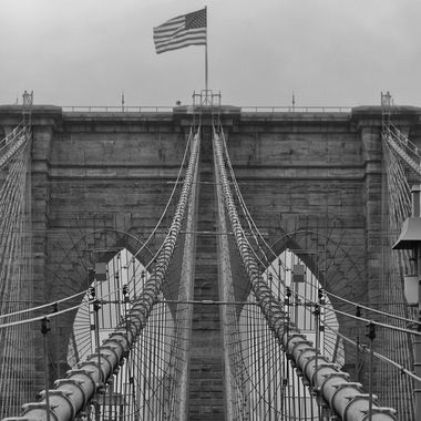 A detail shot of the Brooklyn Bridge...