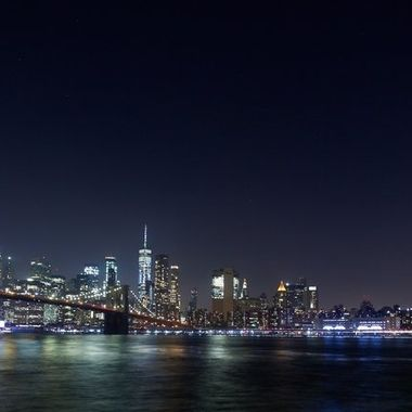 After dark, the city skyline is from Brooklyn.
