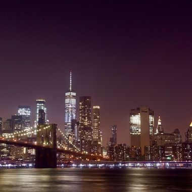 The NYC Skyline at night - from the shores of Brooklyn.