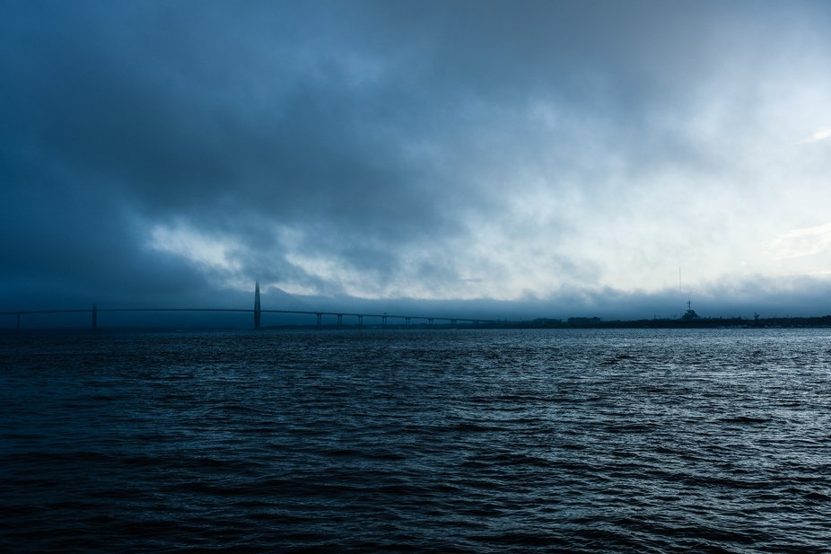 Early morning on the Charleston harbor.. conditions were beginning to deteriorate and a storm was...