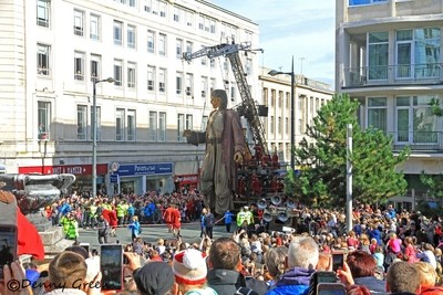 Big Giant enters Derby Square from Lord St Lpool.