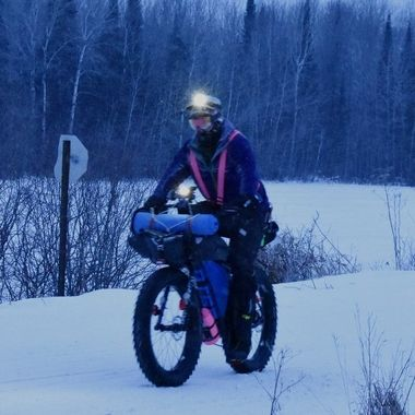 One of the racers in the Arrowhead 135 Endurance Race They leave from Int'l Falls, Mn. to Tower, Mn. through wilderness in subzero weather. Entrance can bike, ski or run the 135 mile course.