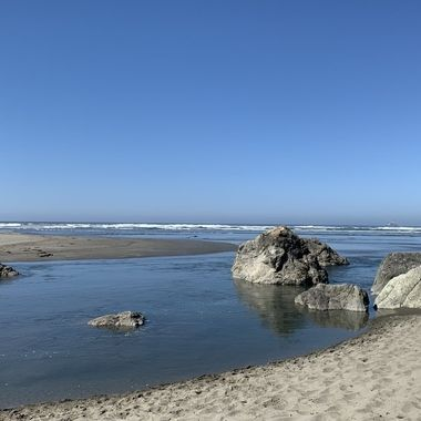 where Little River meets the Pacific Ocean. Trinidad, CA