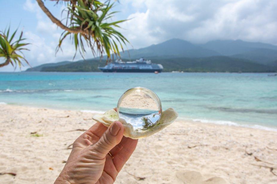 Fun image of the cruise ship,Aria,on Mystery Island. New Caledonia.