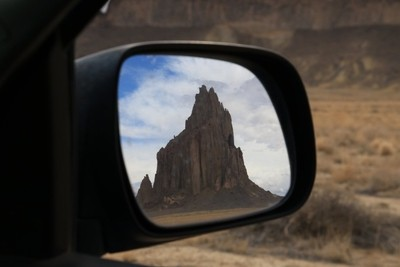 Ship Rock in the Rear View Mirror