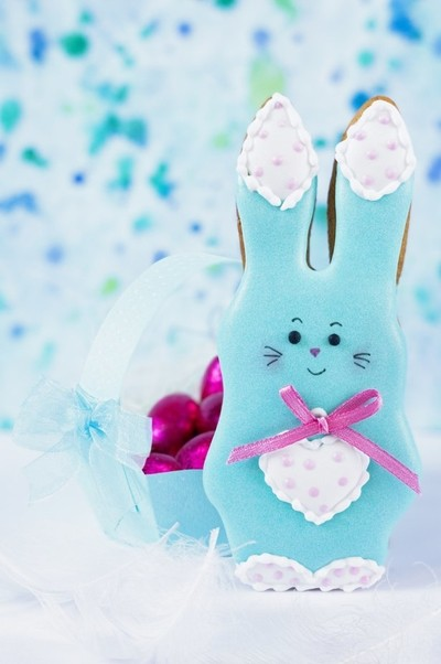Cute background with a honey-cake rabbit