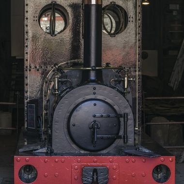 A well cared-for railway engine at Llanberis Slate Museum …