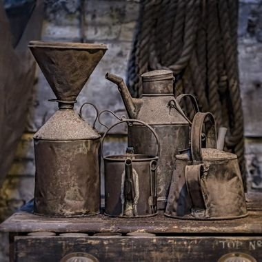 Llanberis Slate Museum … various receptacles for oil and other substances .. on display ..