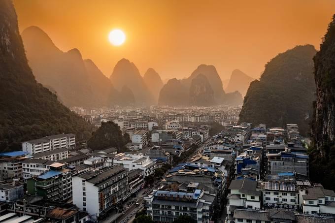 Yangshou sunset by Darrenp - Photogenic Villages Photo Contest