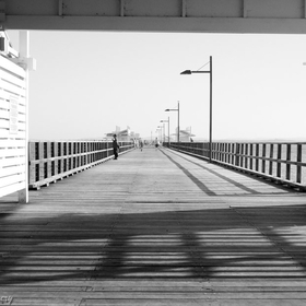 B&W shot of Woody Point Jetty