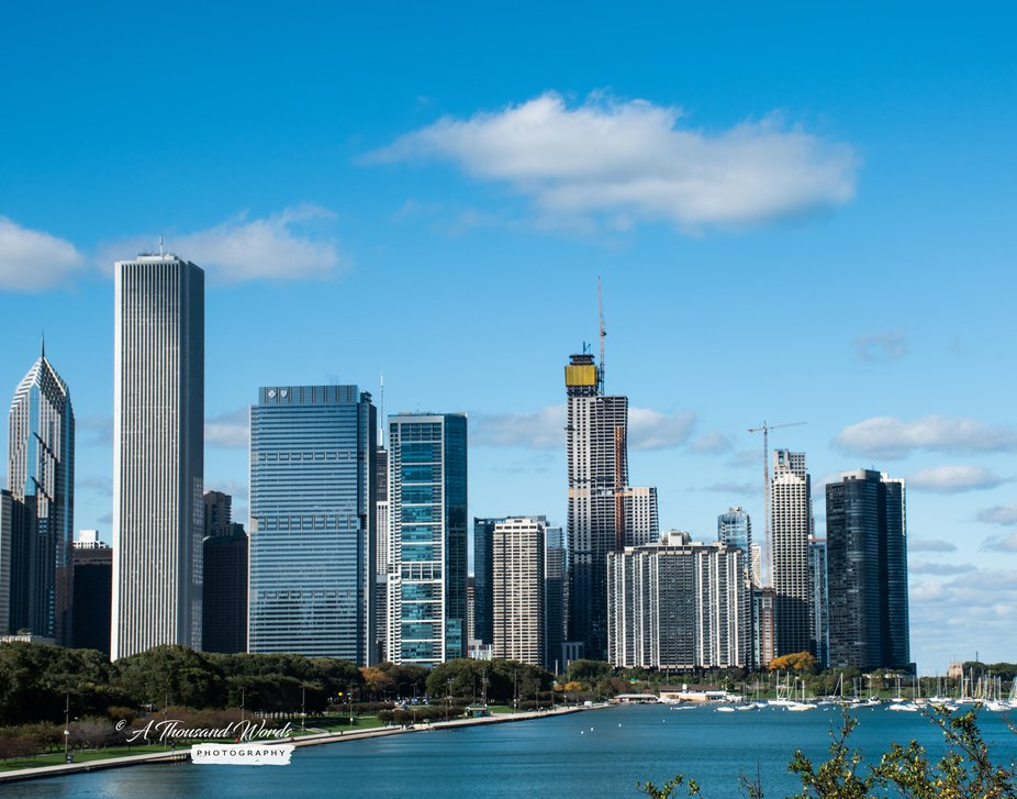 Skyline along Lakeshore Drive in Chicago.