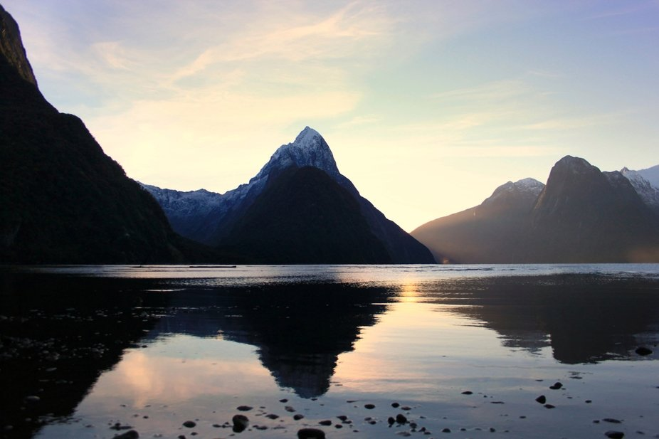 Milford Sound, New zealand, mirror, sunset, winter, scenery, landscape, mitrepeak, milfordsound, ...