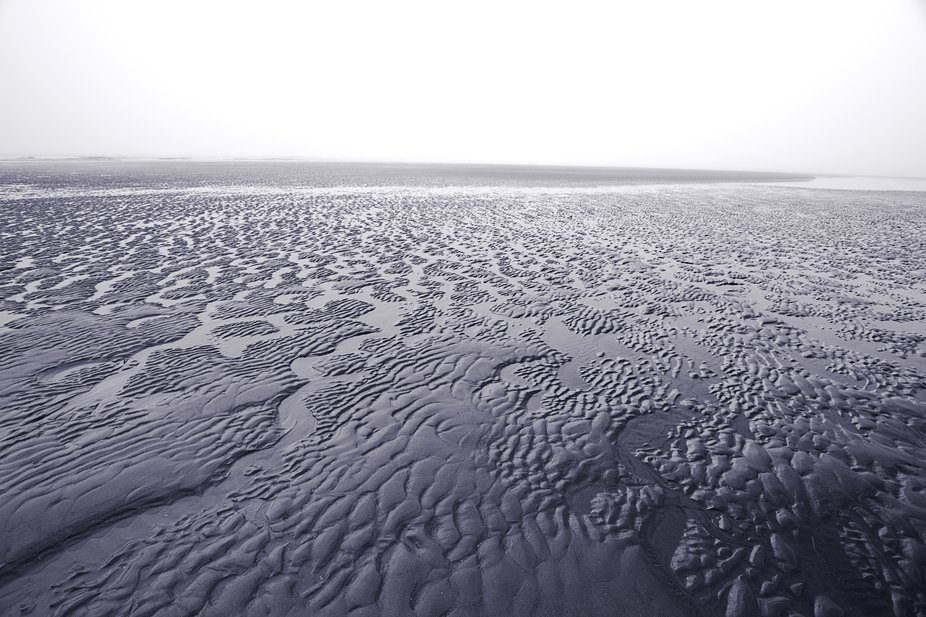 Walking on a beach in Nova Scotia while the tide is out. The fog plus the ripples in the sand mad...