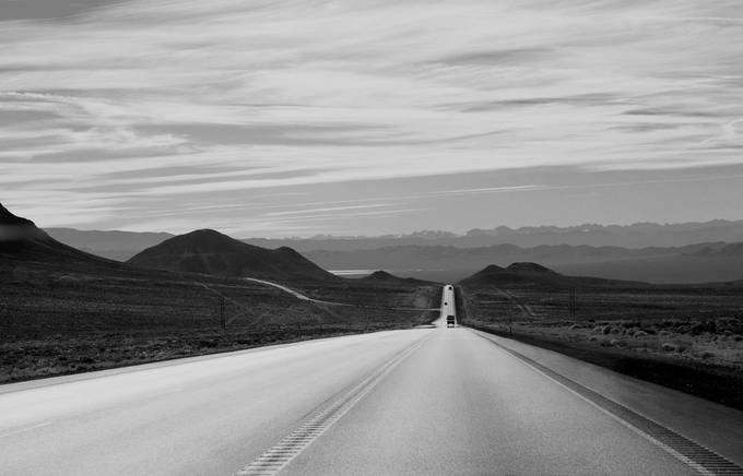 Long road to where? B&W by mechebenz - Straight Roads Photo Contest