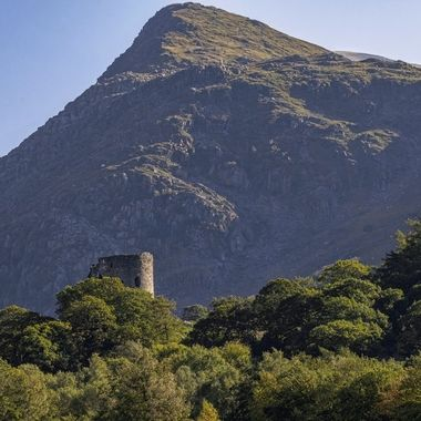 Dolbadarn Castle built by the Welsh prince Llywelyn the Great during the early 13th century, at the base of the Llanberis Pass, in North Wales