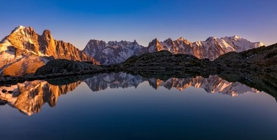 Sunset on the Mont-Blanc Massif from the Lac Blanc