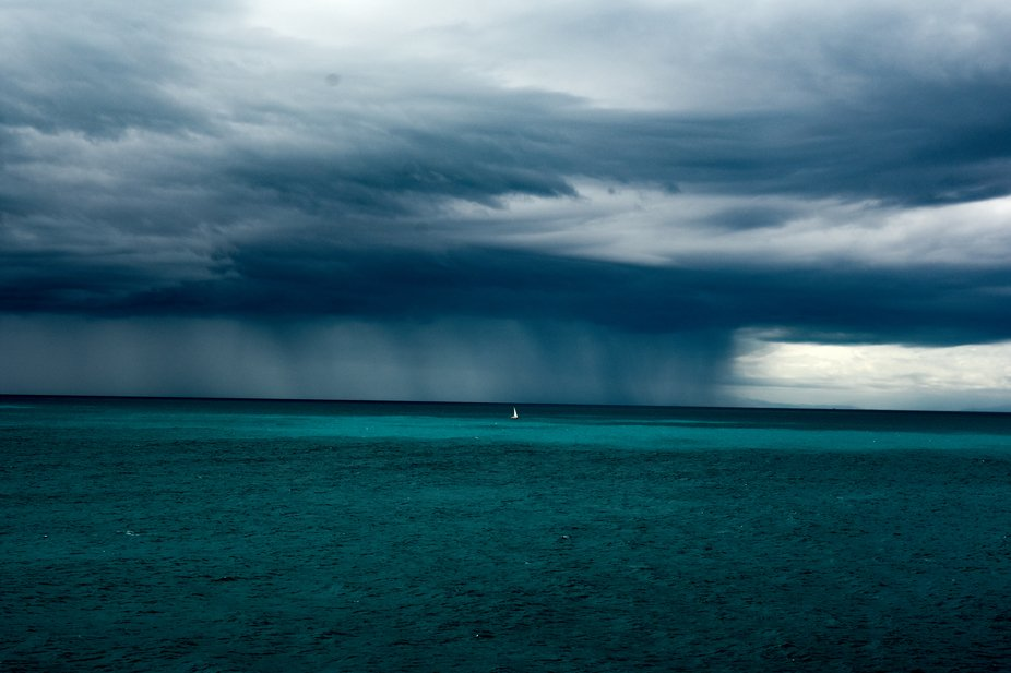 Taken on the ferry between North and South Island of New Zealand, amazing mood as a small storm w...