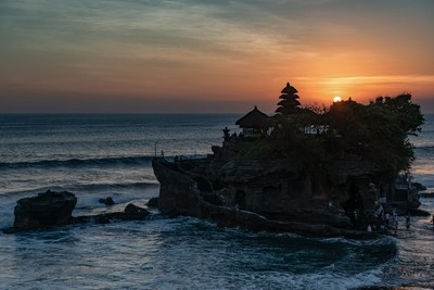 Tanah lot Temple in Bali during sunset.