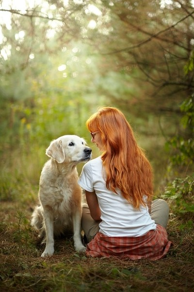 A girl and a dog
