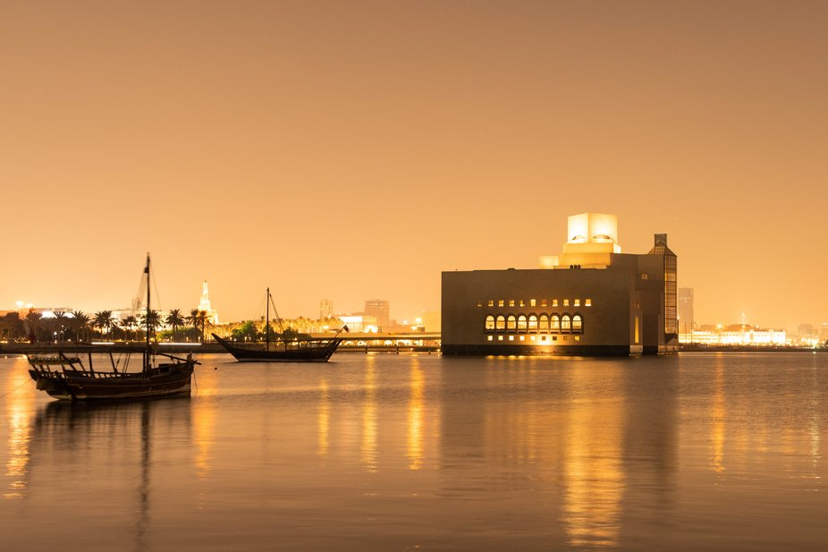 There are a number of spots around the Museum of Islamic Art in Doha, where you can enjoy the sun...