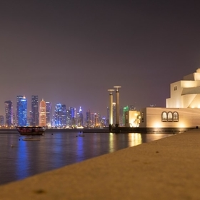 The view from the Museum of Islamic Art over the bay (and parts of the Dhow Harbour) to the bright lights of Downtown.