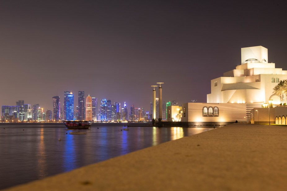 The view from the Museum of Islamic Art over the bay (and parts of the Dhow Harbour) to the brigh...