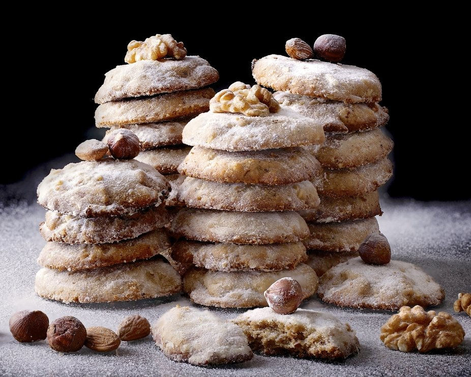 Stacked Mixed Nut Cookies