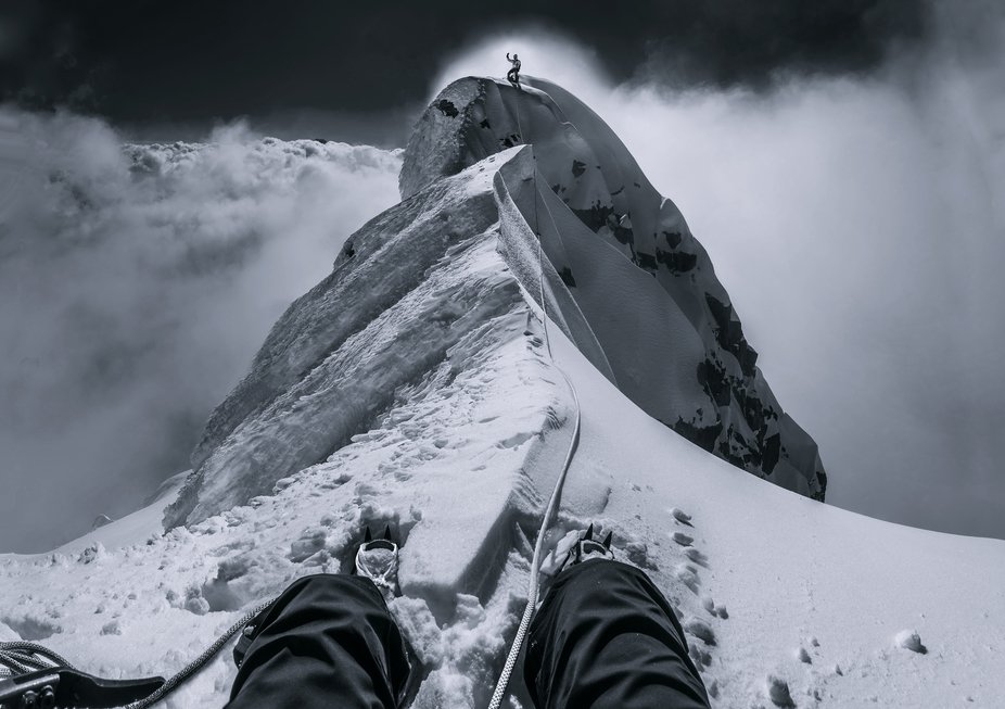 A view from my belay stance 30 metres away from the top of Mt Brewster (2,515m). My climbing budd...