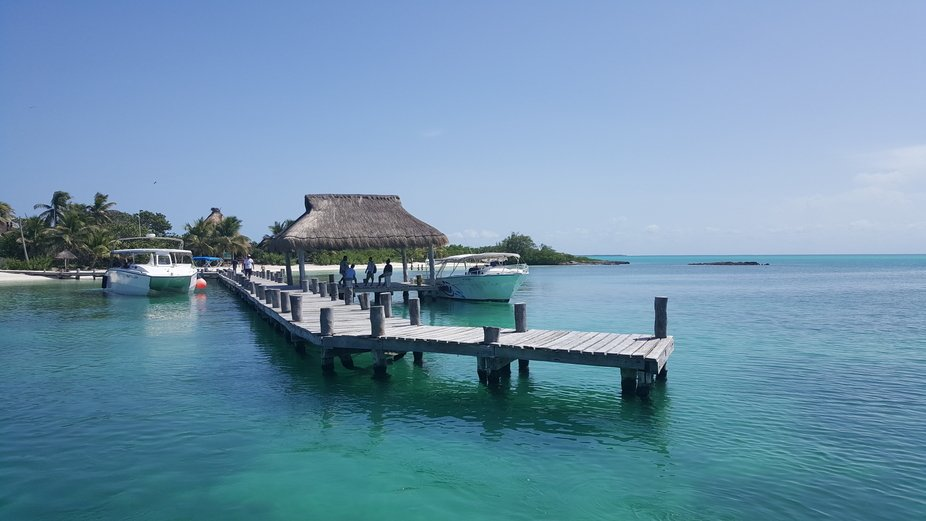This is the beautiful pier at Isla Contoy.  It is an uninhabited island in the Caribbean that onl...