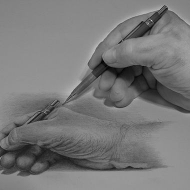 My hand drawing my hand