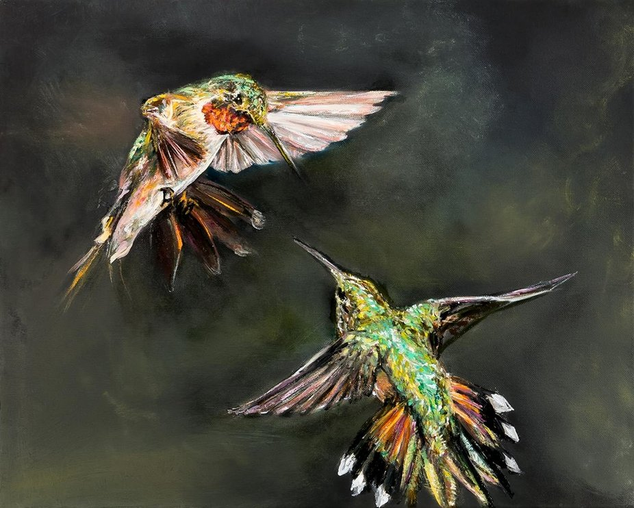 this is an oil painting of 2 hummingbirds dueling  My hope was to show how it runs through all sp...