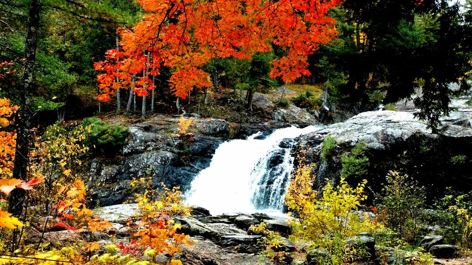 Beautiful view of the Dead River Falls in Michigan. Fall is in the air ????