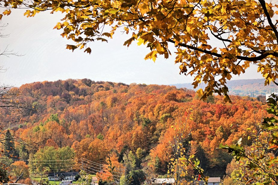 View from the Minden Lookout of the fall colour in the Haliburton Highlands of Central Ontario
