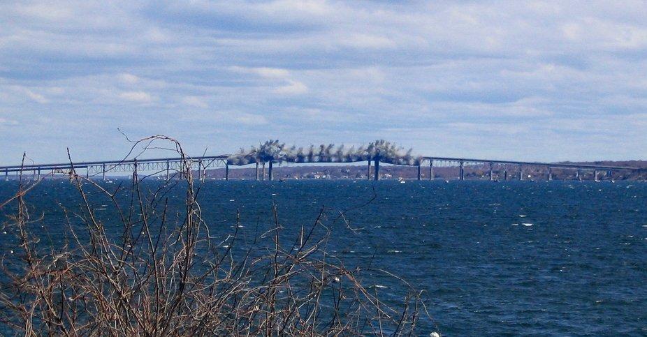 The demolition of the old Jamestown Bridge.