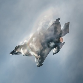 F-35 jet creating sonic clouds