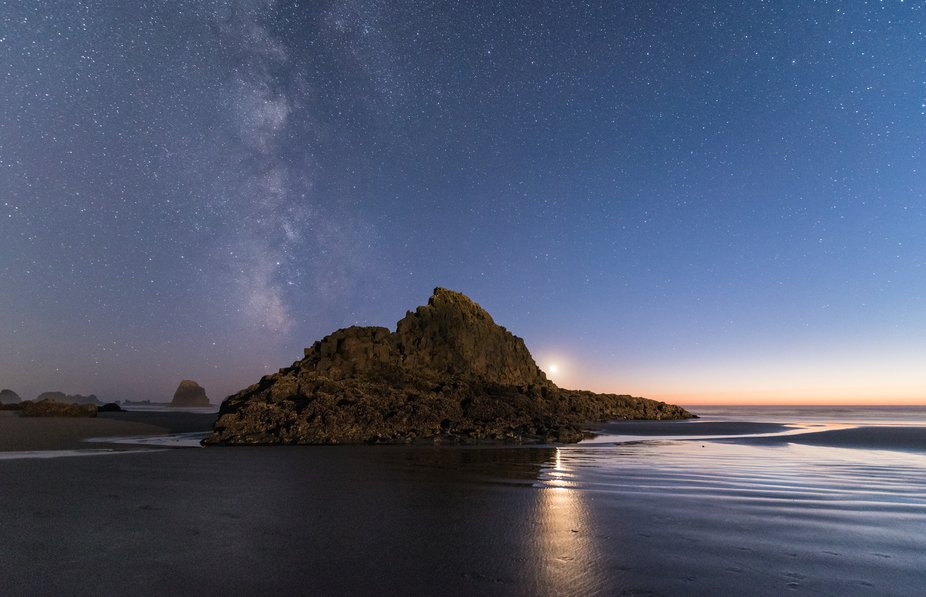 Changing over from sunset to moon light to night over Indian Beach in Ecola State Park, OR.