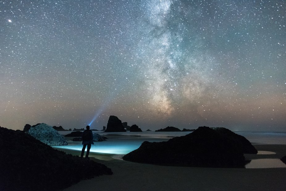 Spotting the stars and milky way over Indian Beach in Cannon Beach, OR.