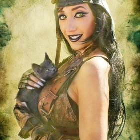Steampunk Cat Woman with Kitty