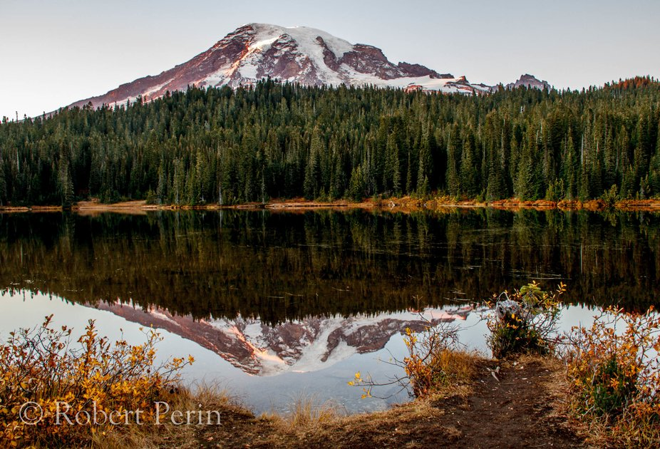 This is Mt. Rainier from Reflection Lake at Sunset.  The right place at the right time.