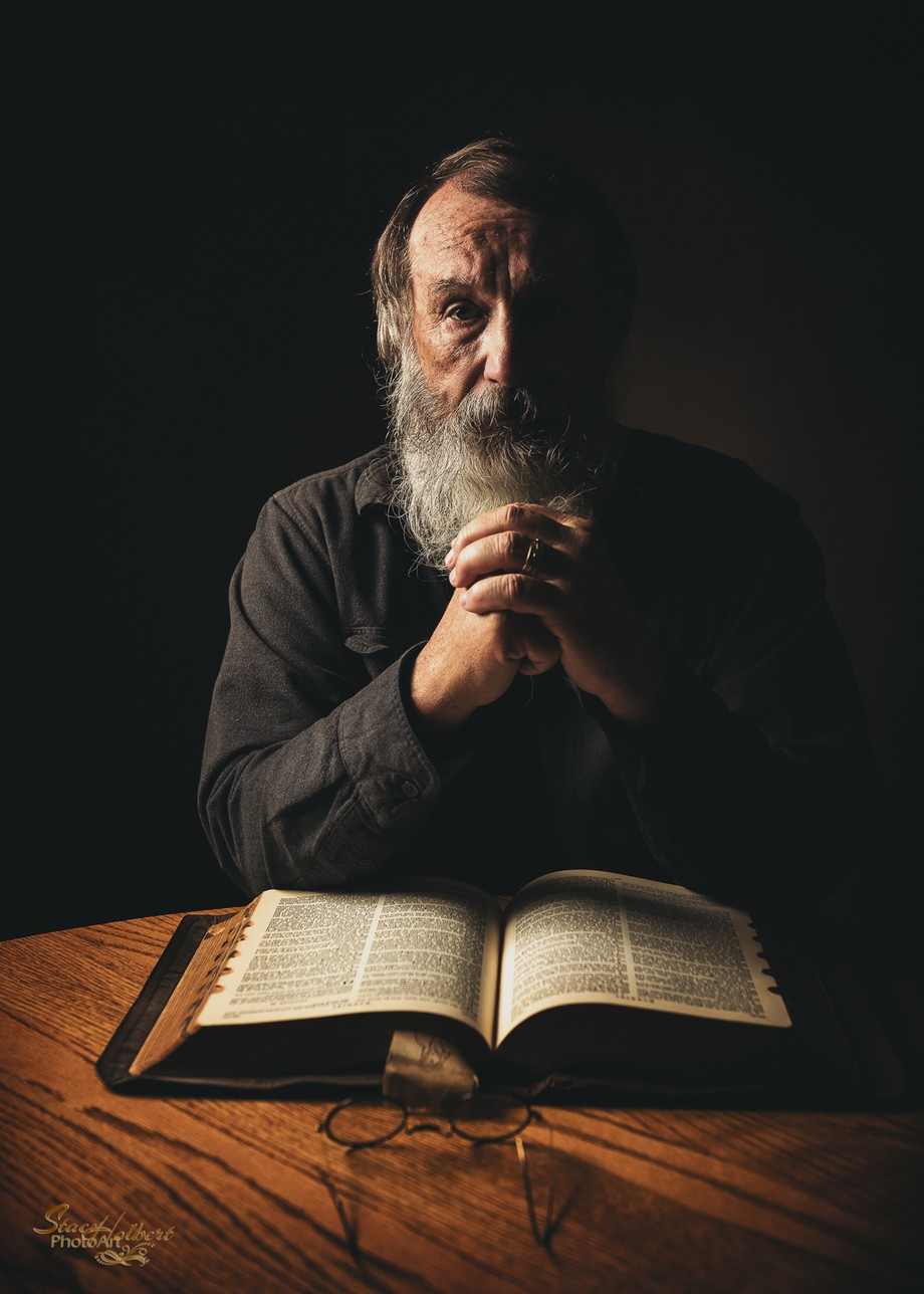 Old Man w Bible by sjholbert - Looking At Faces Photo Contest