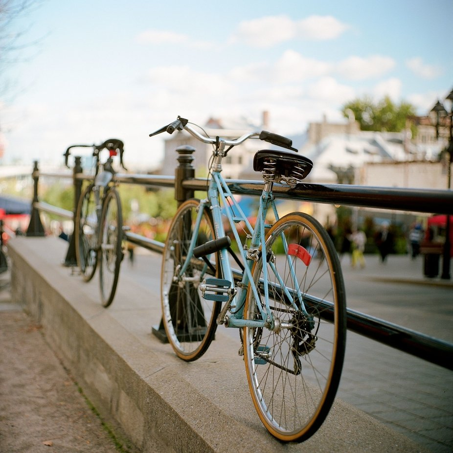 Bicycles parked at Old Montreal, Canada.  Hasselblad 500C, Zeiss * Planar 80mm F2.8, Kodak Portra 400