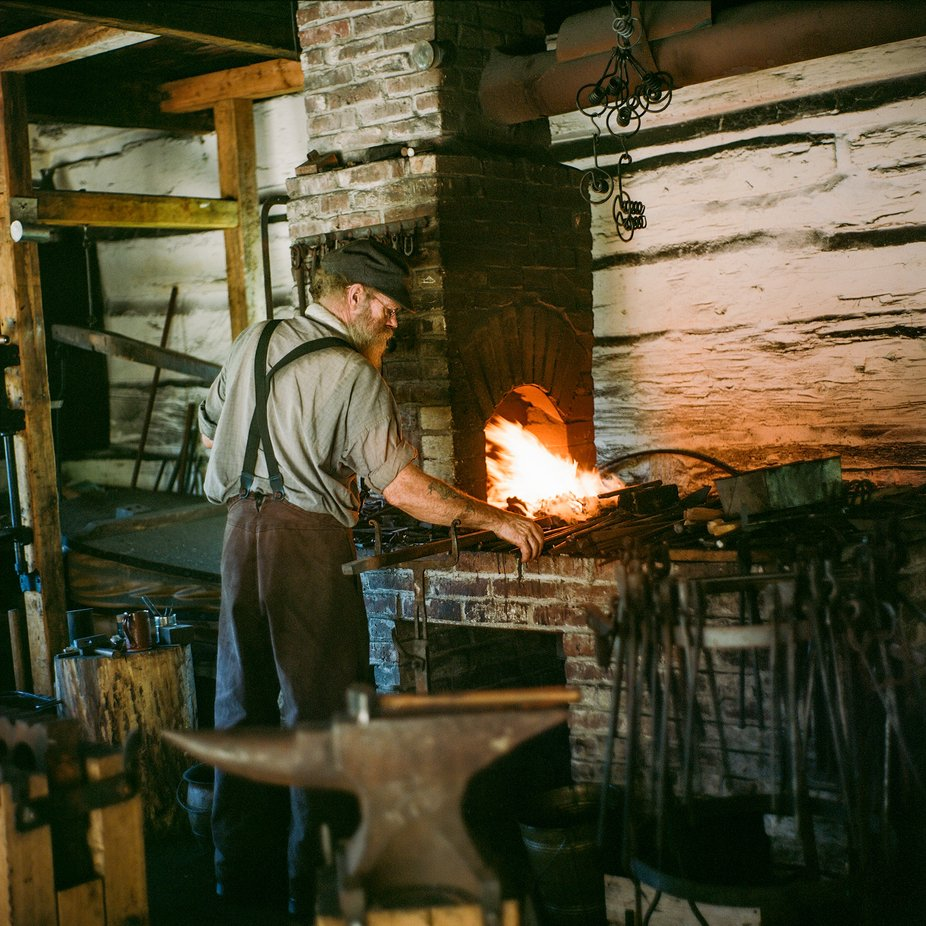 A blacksmith at work, at Upper Canada Village