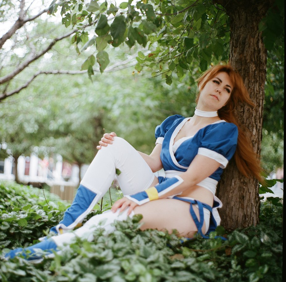 From a cosplay photoshoot at Otakuthon, Montreal, Canada  Model: Ryou Cosplay, as Kasumi from the Dead or Alive fighting game series.  Kiev 88, Volna 90mm, Kodak Portra 400