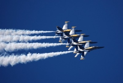 Blue Angels Banking at High Speed in Formation