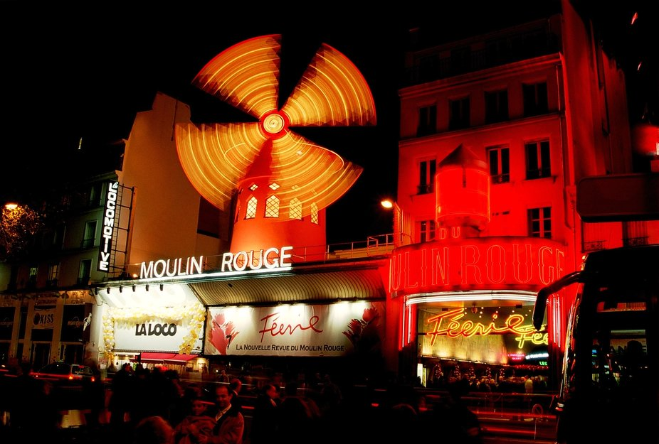 Moulin Rouge, Paris, old photo, New Year 2002/2003.  Nikon F50, AF Nikkor 35-80D